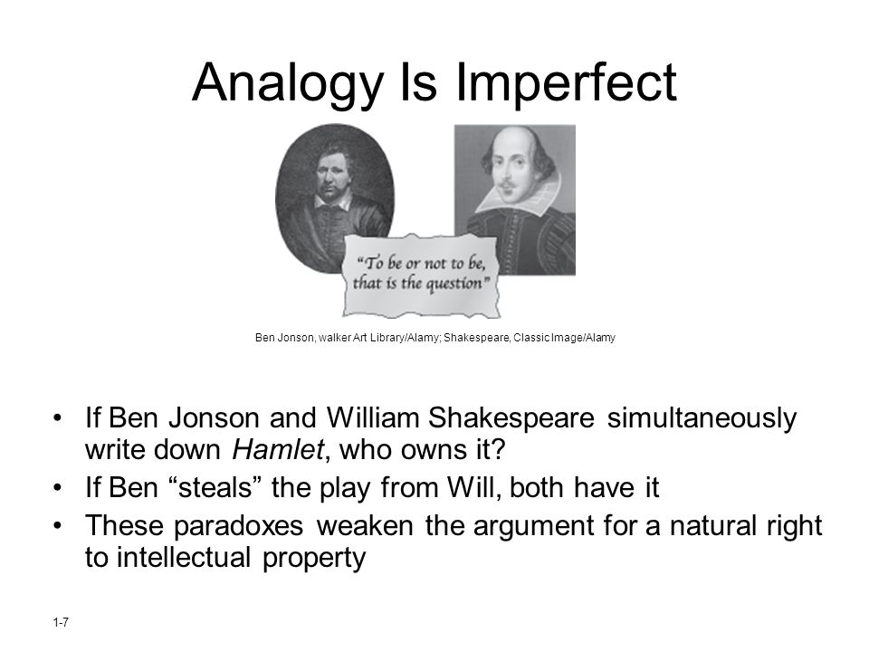 Analogy Is Imperfect Ben Jonson, walker Art Library/Alamy; Shakespeare, Classic Image/Alamy.