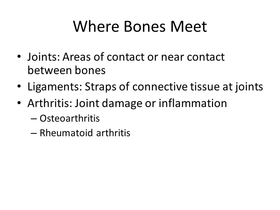 Where Bones Meet Joints: Areas of contact or near contact between bones. Ligaments: Straps of connective tissue at joints.