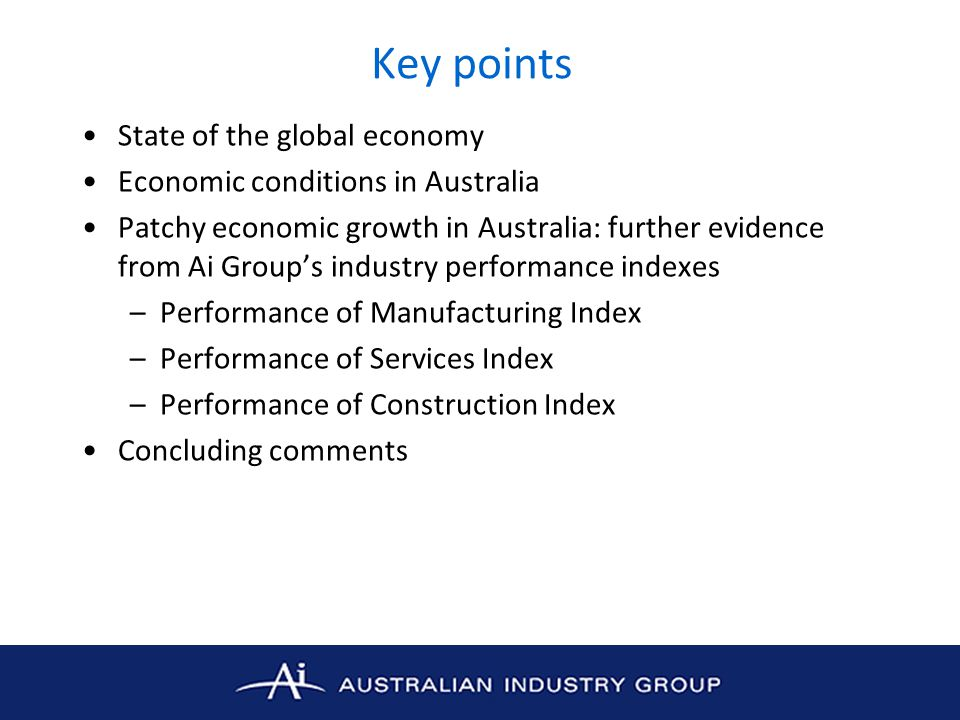 Key points State of the global economy