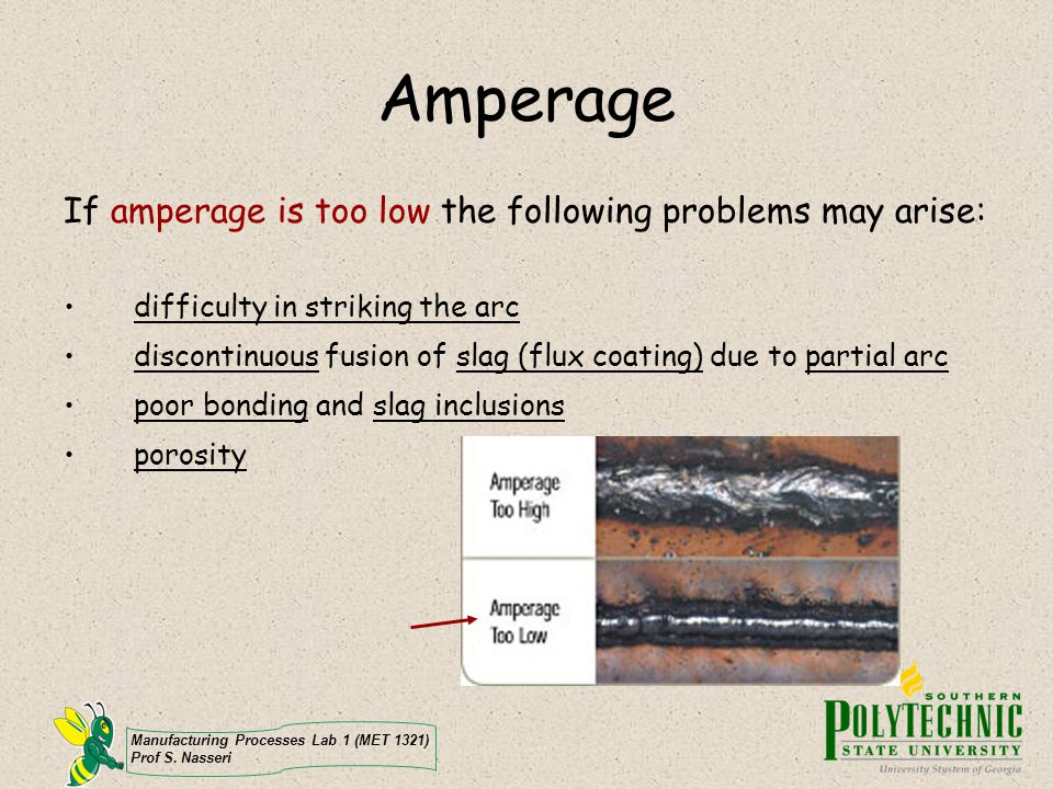 Amperage If amperage is too low the following problems may arise: