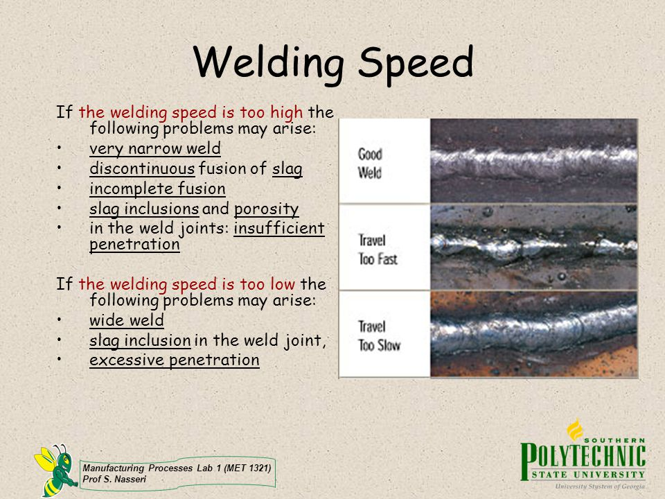 Welding Speed If the welding speed is too high the following problems may arise: very narrow weld.