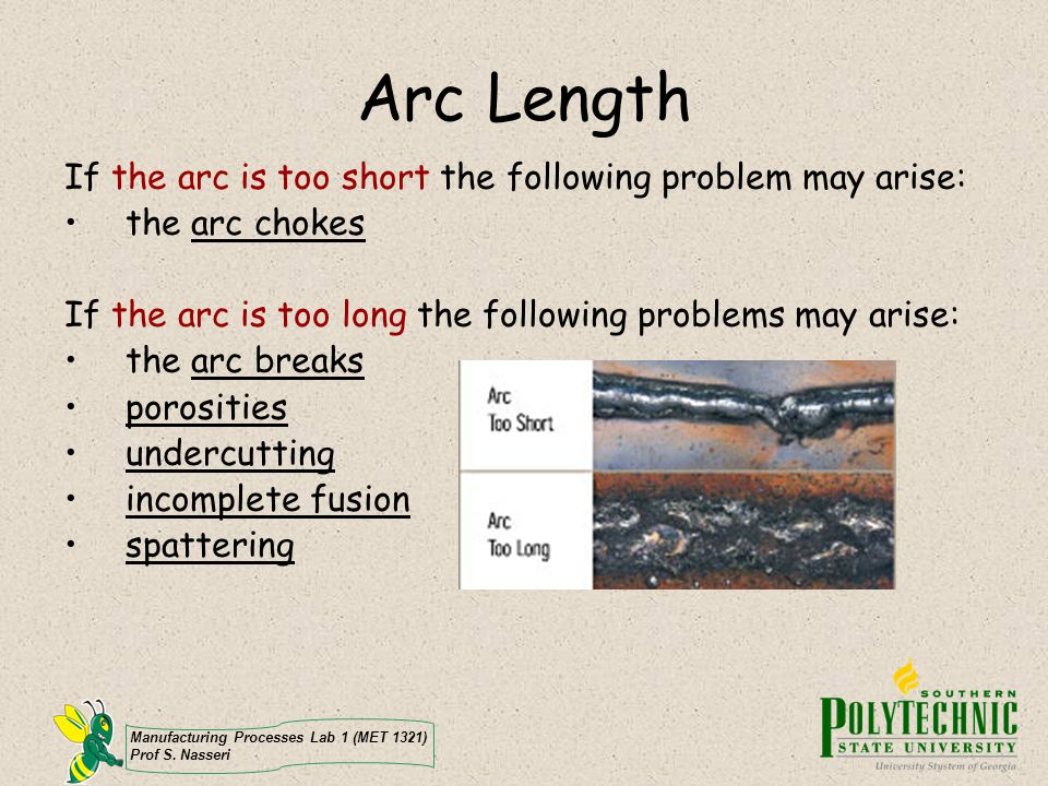 Arc Length If the arc is too short the following problem may arise: