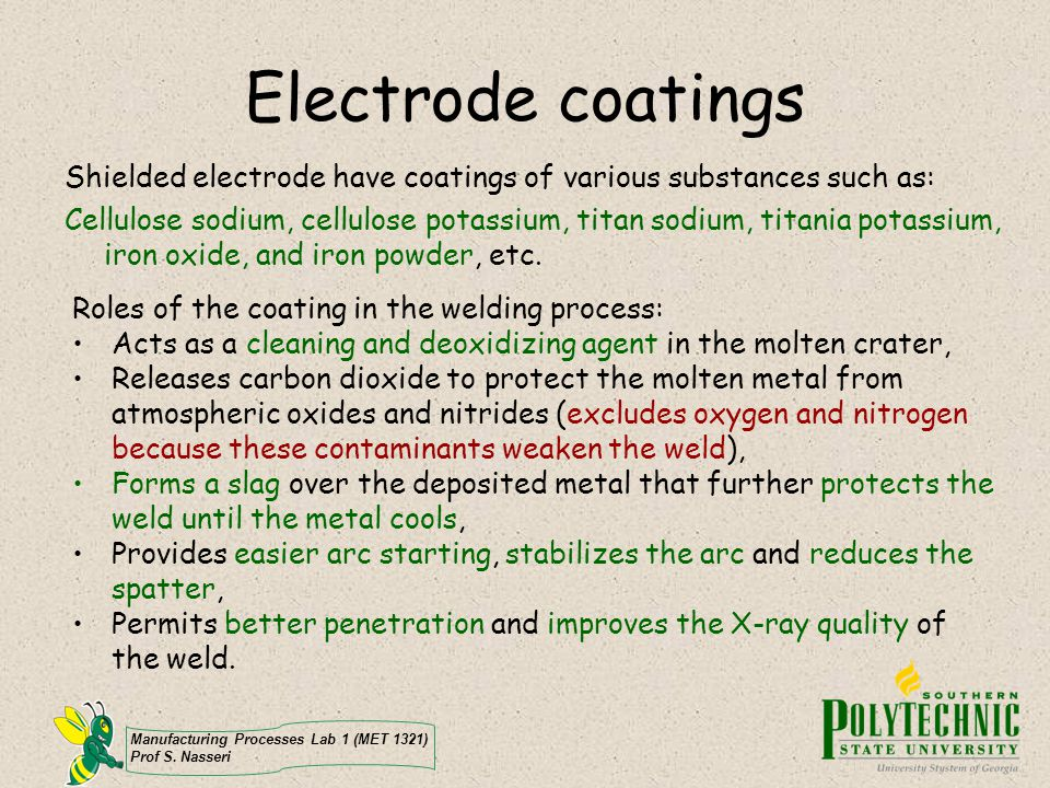 Electrode coatings Shielded electrode have coatings of various substances such as: