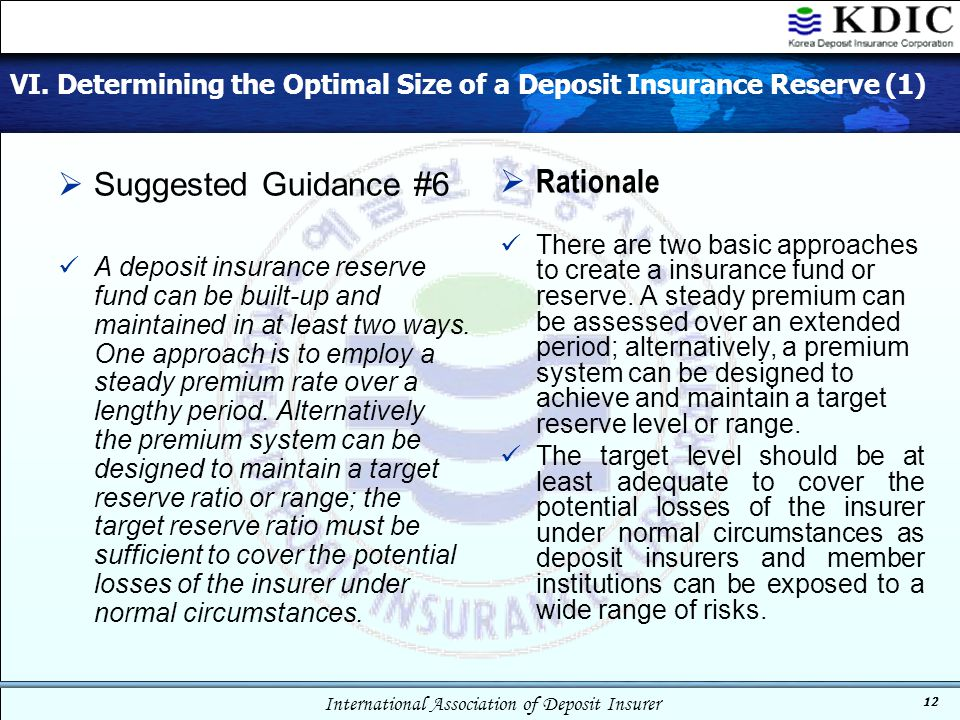 VI. Determining the Optimal Size of a Deposit Insurance Reserve (1)