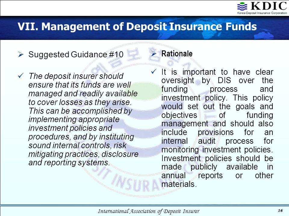 VII. Management of Deposit Insurance Funds