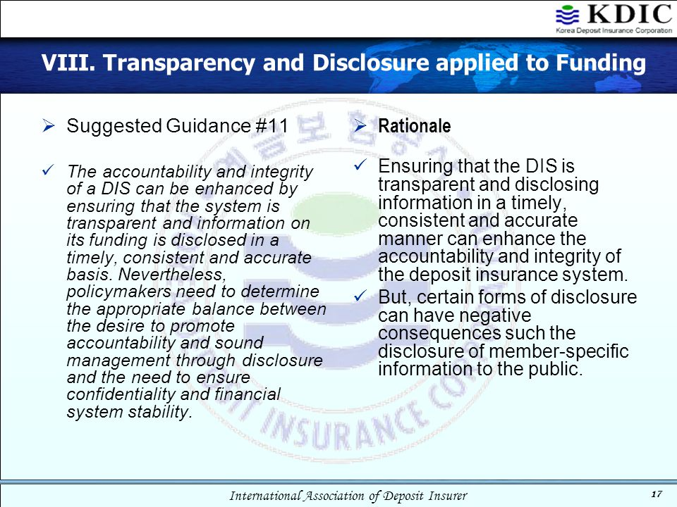 VIII. Transparency and Disclosure applied to Funding