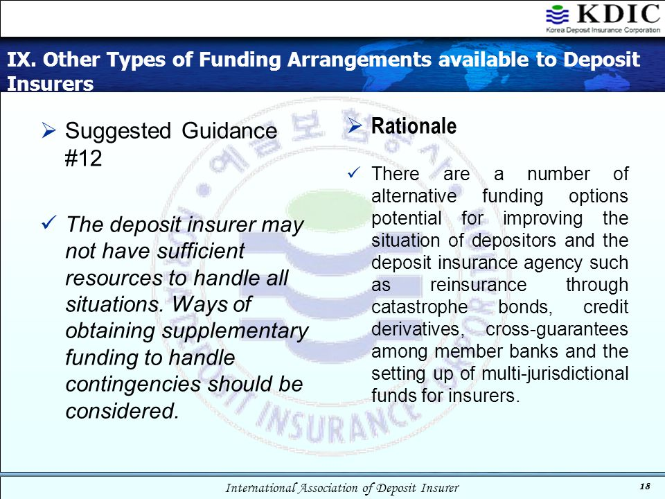 IX. Other Types of Funding Arrangements available to Deposit Insurers