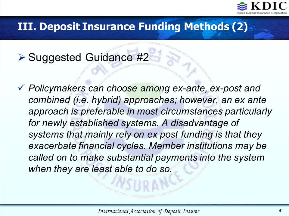 III. Deposit Insurance Funding Methods (2)