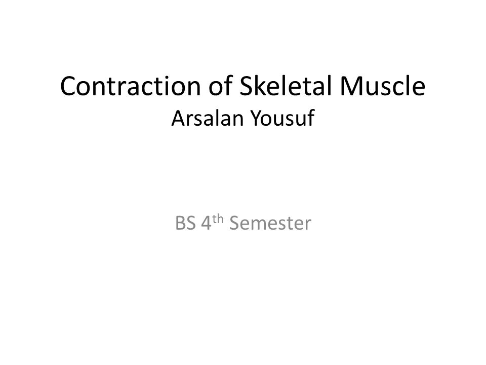 Contraction of Skeletal Muscle Arsalan Yousuf