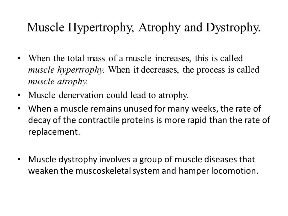Muscle Hypertrophy, Atrophy and Dystrophy.