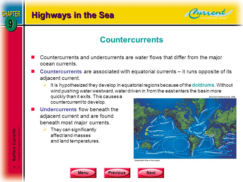 Countercurrents Countercurrents and undercurrents are water flows that differ from the major ocean currents.
