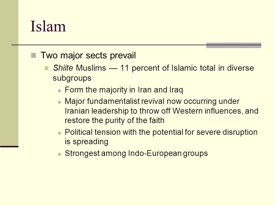 Islam Two major sects prevail