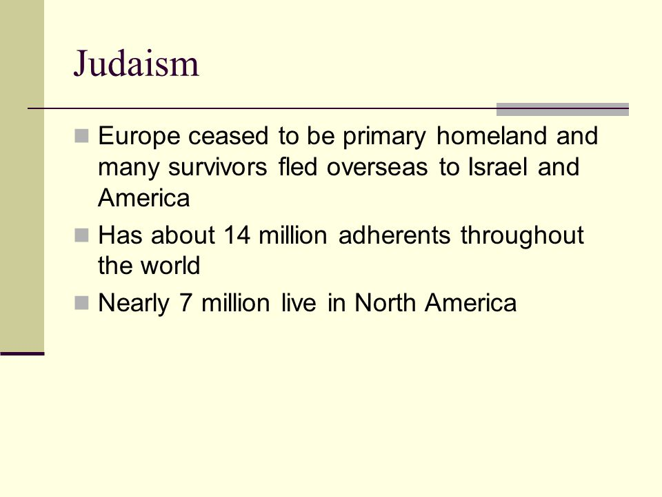 Judaism Europe ceased to be primary homeland and many survivors fled overseas to Israel and America.