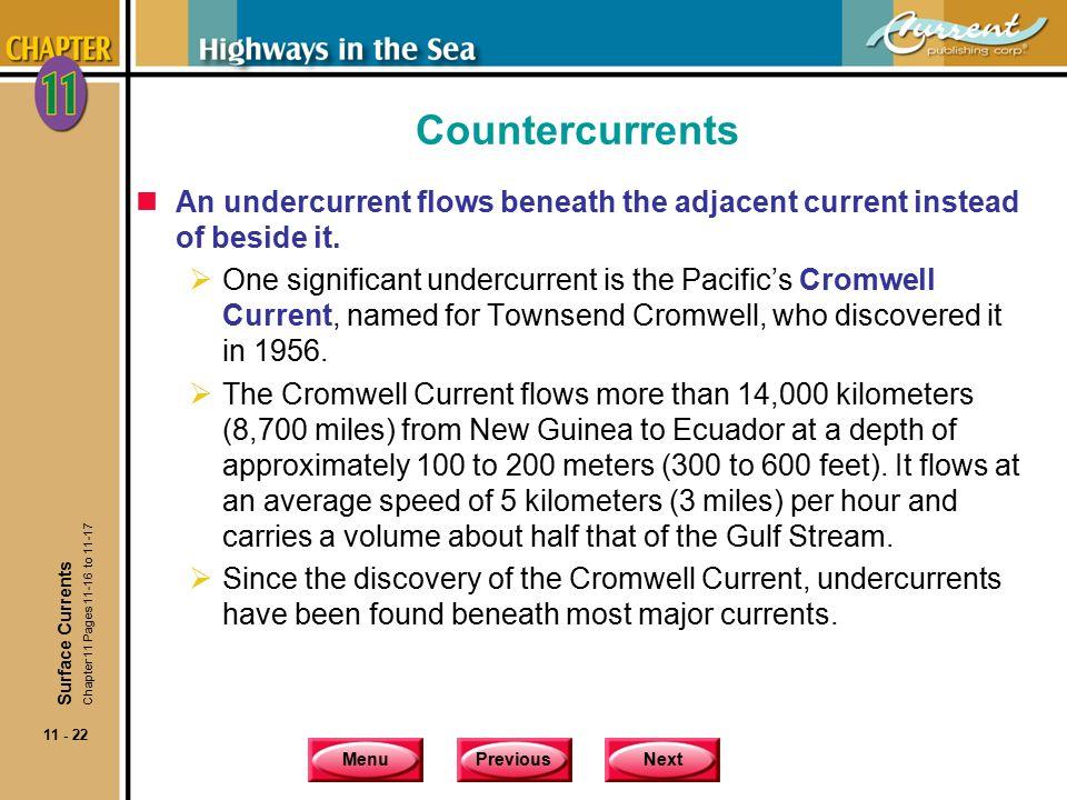 Countercurrents An undercurrent flows beneath the adjacent current instead of beside it.