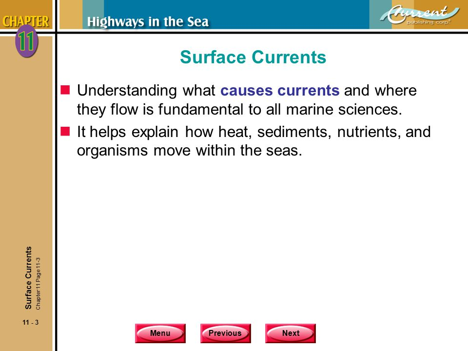 Surface Currents Understanding what causes currents and where they flow is fundamental to all marine sciences.