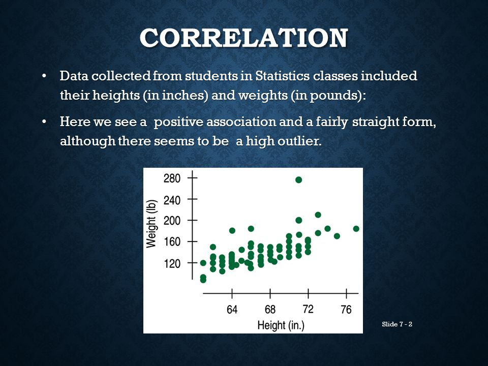 Correlation Data collected from students in Statistics classes included their heights (in inches) and weights (in pounds):