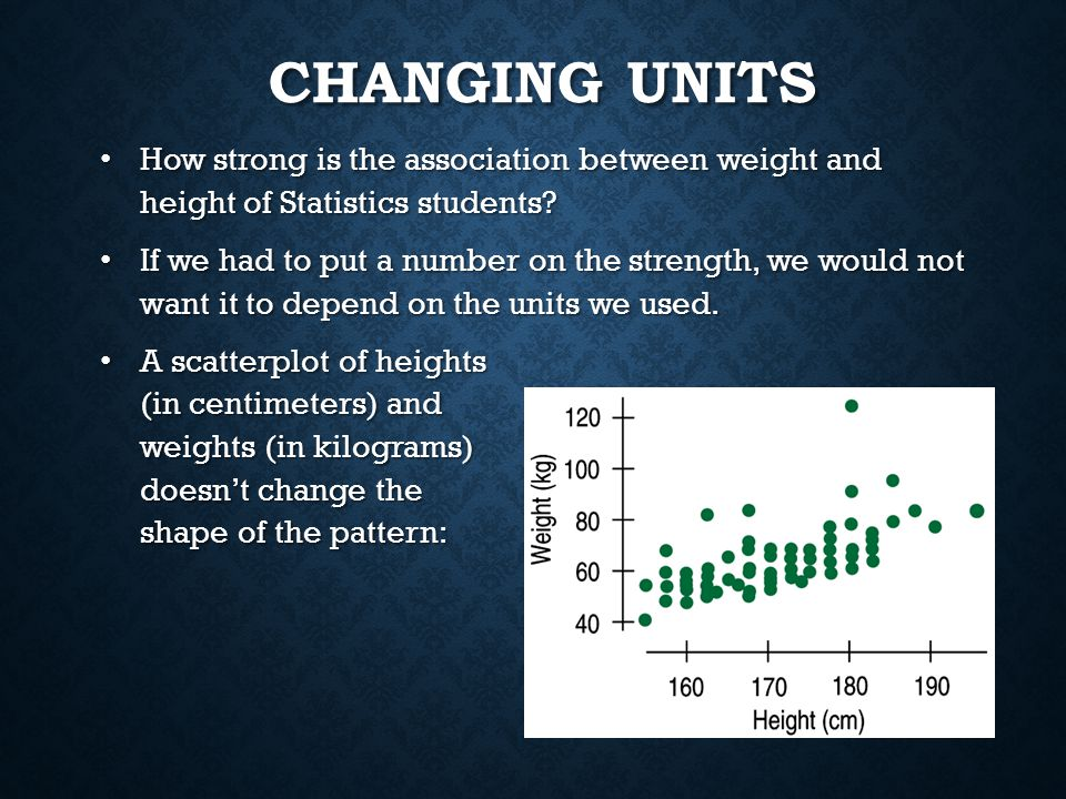 Changing Units How strong is the association between weight and height of Statistics students