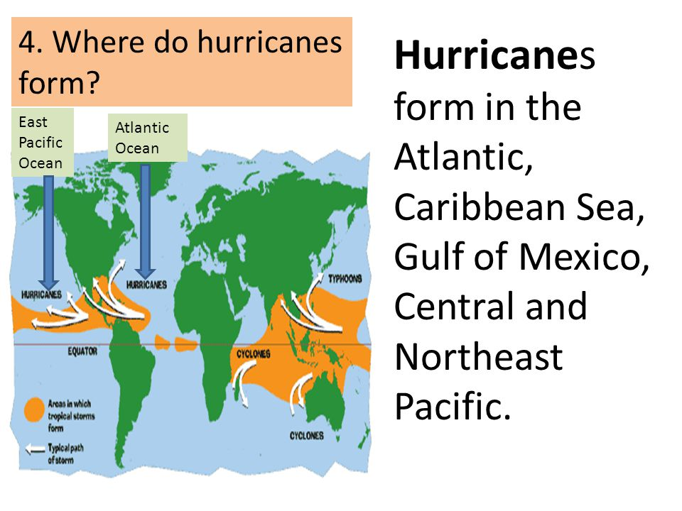 4. Where do hurricanes form