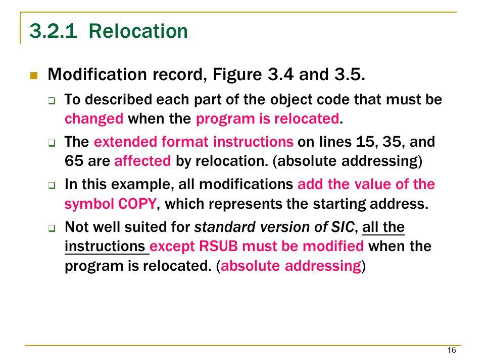 3.2.1 Relocation Modification record, Figure 3.4 and 3.5.