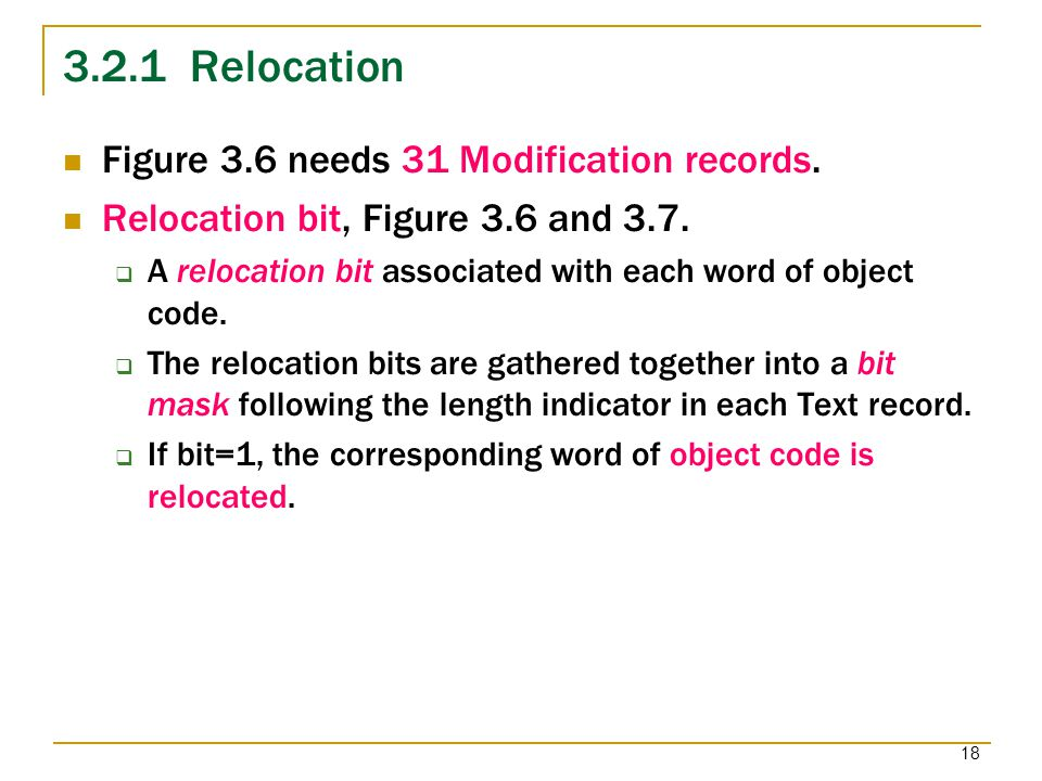 3.2.1 Relocation Figure 3.6 needs 31 Modification records.