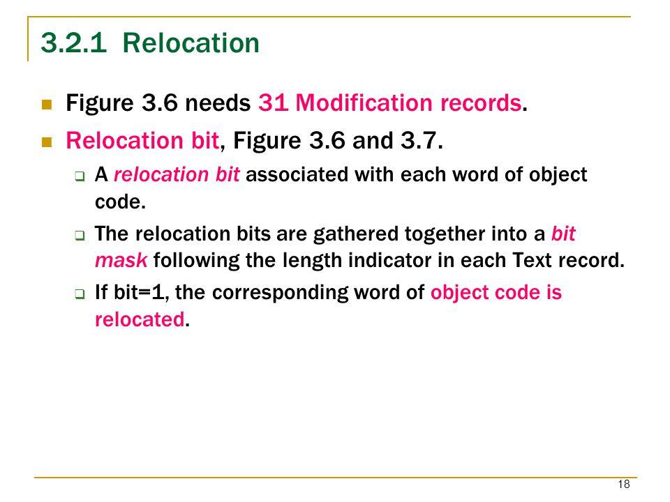3.2.1 Relocation Figure 3.6 needs 31 Modification records.