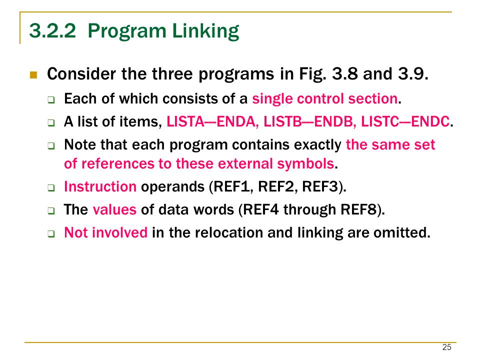 3.2.2 Program Linking Consider the three programs in Fig. 3.8 and 3.9.