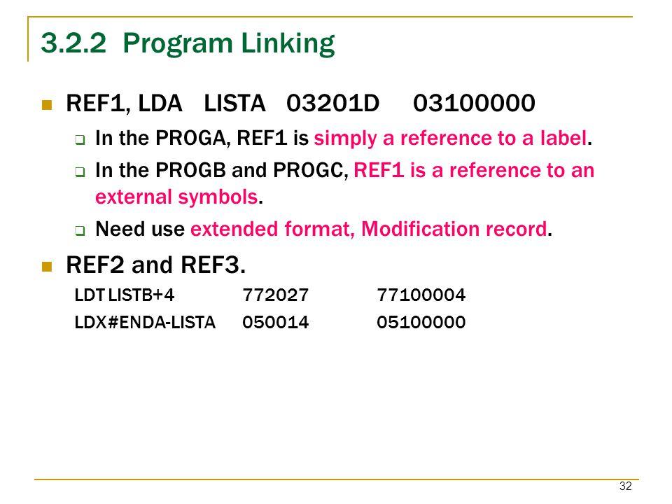 3.2.2 Program Linking REF1, LDA LISTA 03201D 03100000 REF2 and REF3.