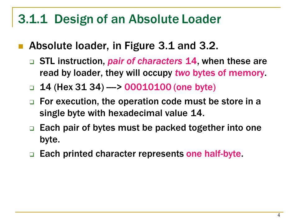 3.1.1 Design of an Absolute Loader