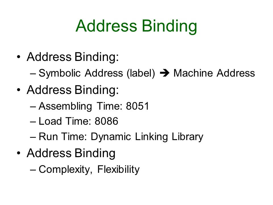Address Binding Address Binding: Address Binding