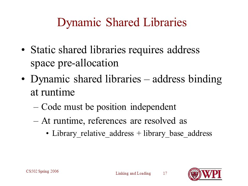 Dynamic Shared Libraries