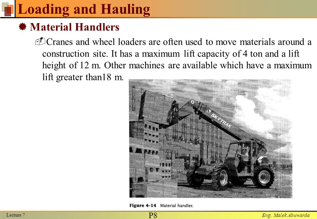 Loading and Hauling Material Handlers