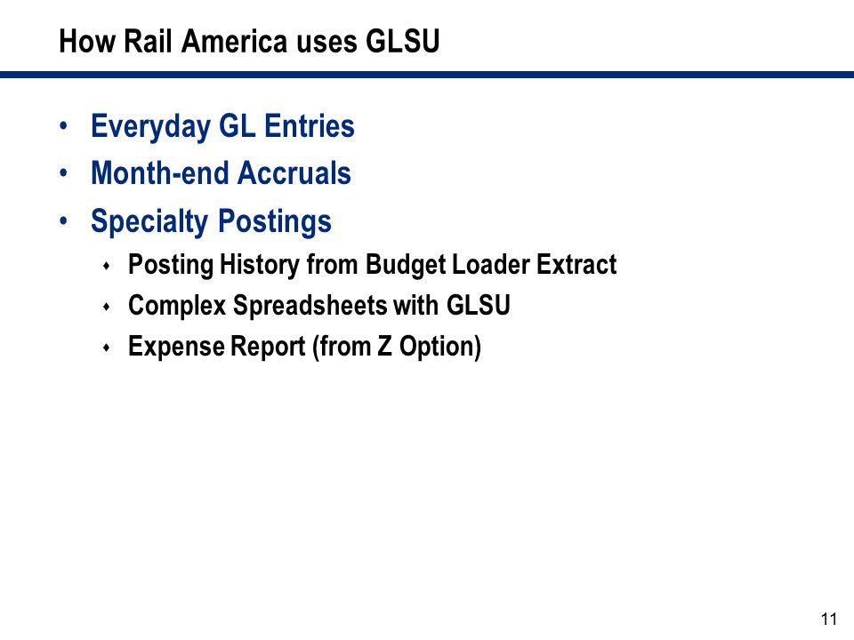 How Rail America uses GLSU