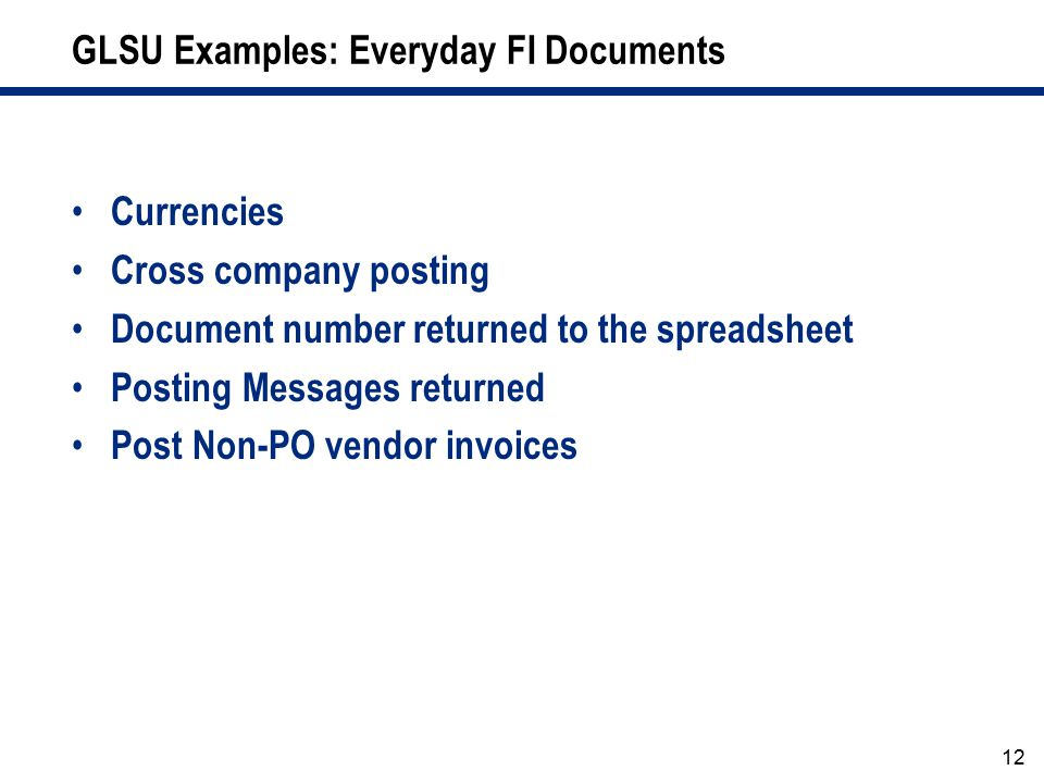 GLSU Examples: Everyday FI Documents