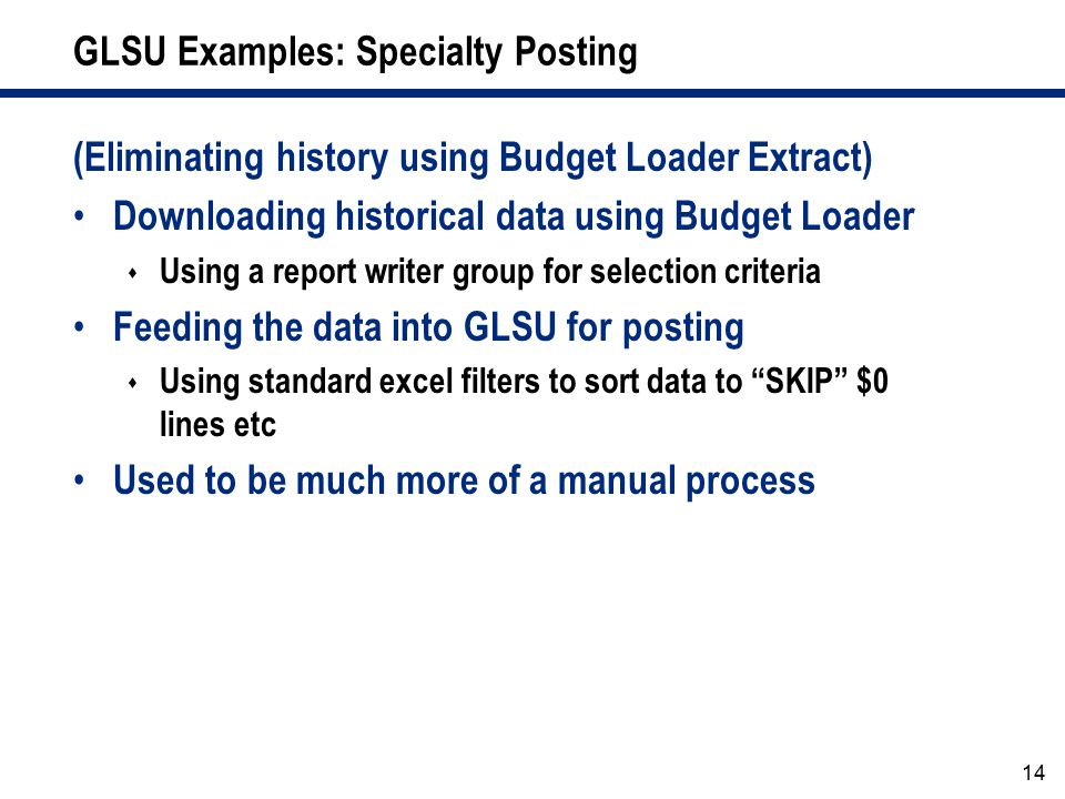 GLSU Examples: Specialty Posting