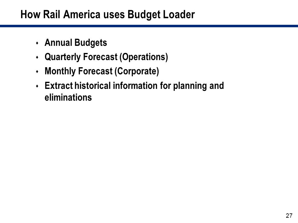 How Rail America uses Budget Loader
