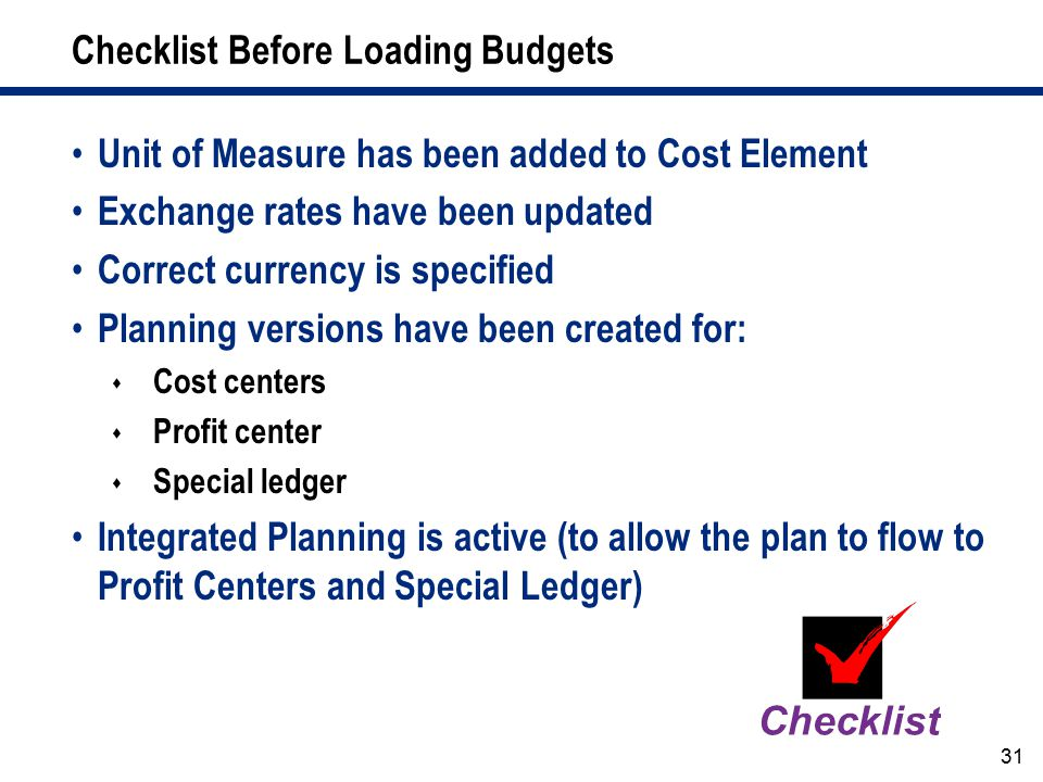Checklist Before Loading Budgets
