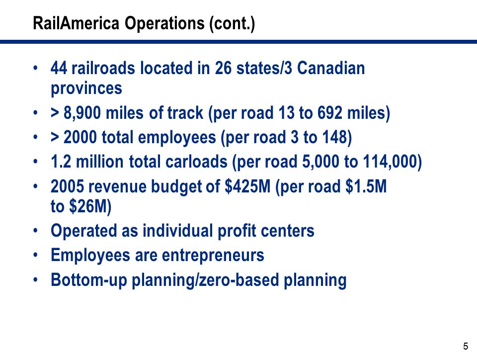 RailAmerica Operations (cont.)
