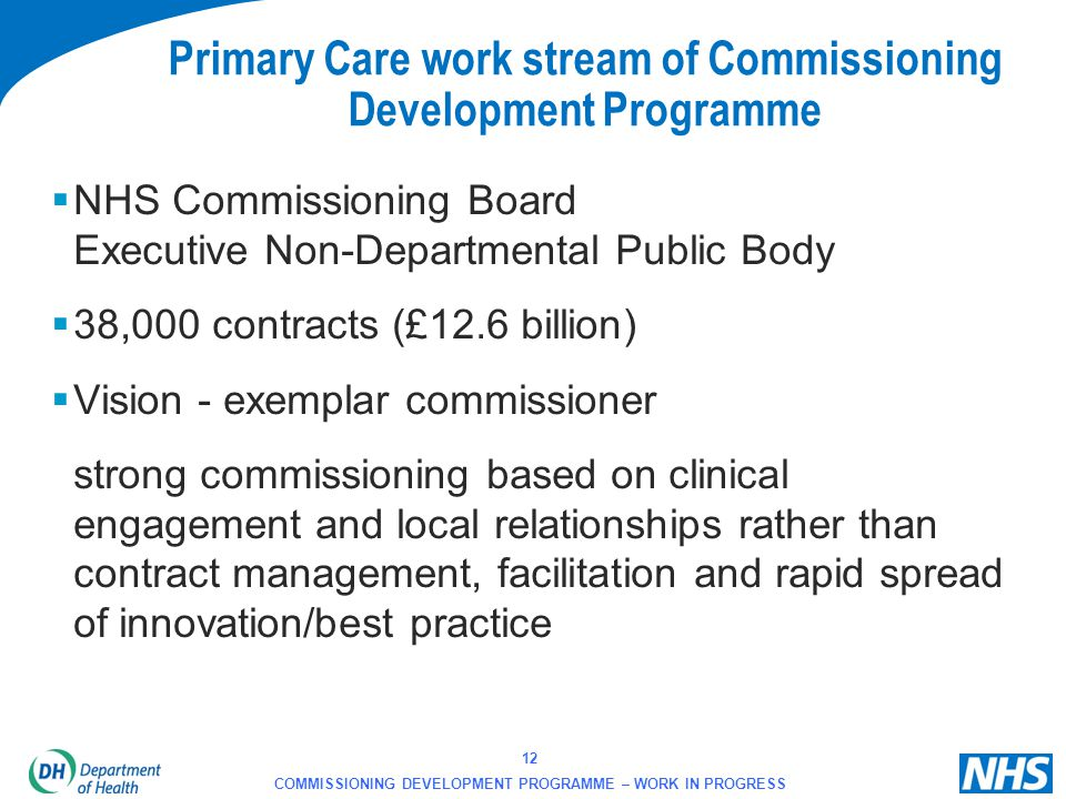 Primary Care work stream of Commissioning Development Programme