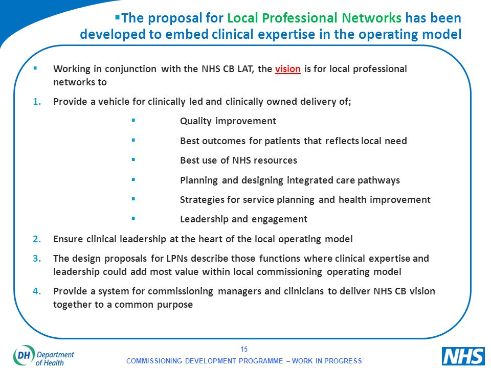 The proposal for Local Professional Networks has been developed to embed clinical expertise in the operating model