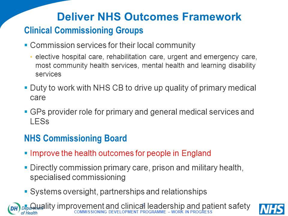 Deliver NHS Outcomes Framework