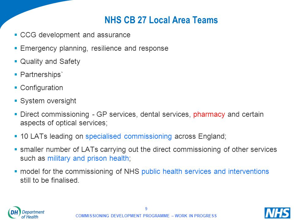 NHS CB 27 Local Area Teams CCG development and assurance