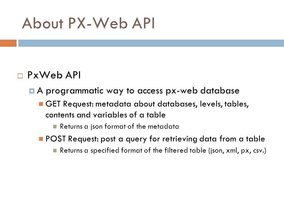 About PX-Web API PxWeb API