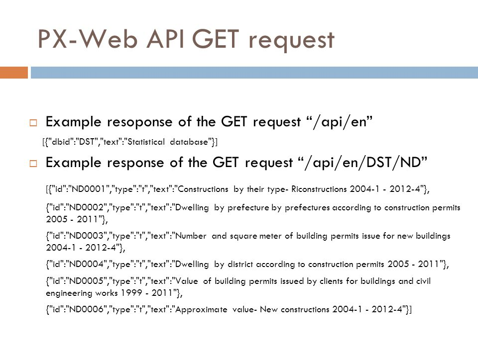PX-Web API GET request Example resoponse of the GET request /api/en