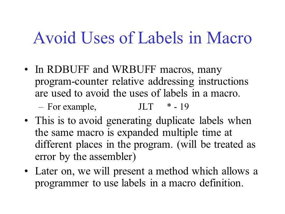 Avoid Uses of Labels in Macro