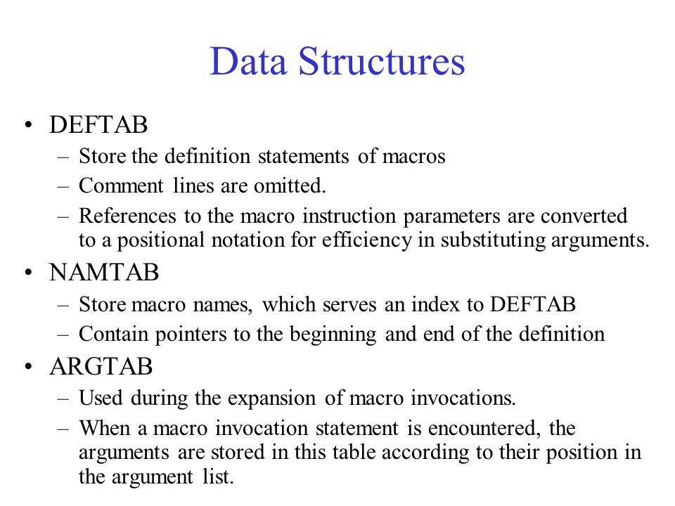 Data Structures DEFTAB NAMTAB ARGTAB