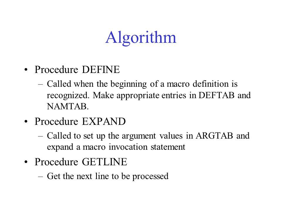Algorithm Procedure DEFINE Procedure EXPAND Procedure GETLINE