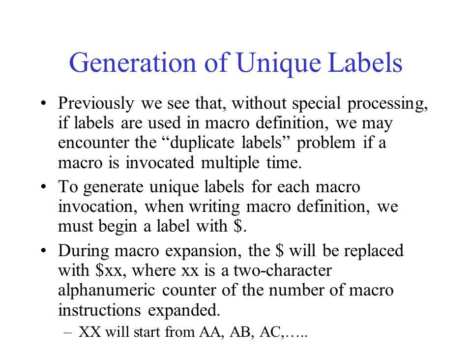 Generation of Unique Labels