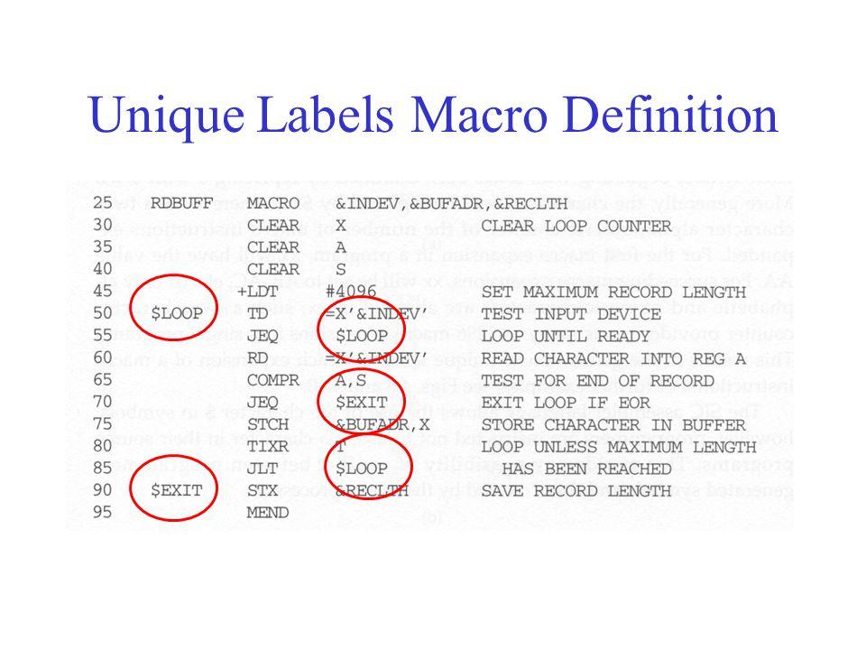 Unique Labels Macro Definition