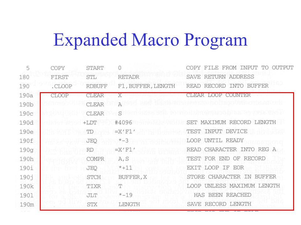 Expanded Macro Program