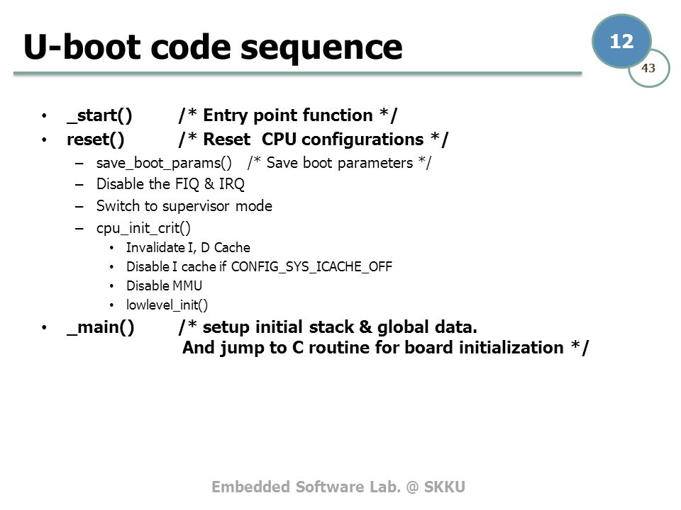 U-boot code sequence _start() /* Entry point function */
